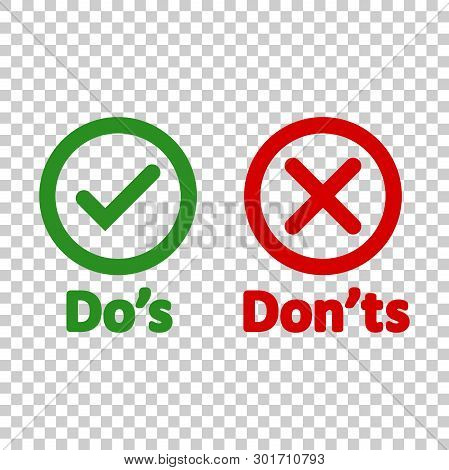 Dos And Donts Sign Icon In Transparent Style. Like, Unlike Vector Illustration On Isolated Backgroun