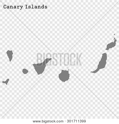 High Quality Map Of Canary Islands Is A State Of Spain, With Borders Of The Districts