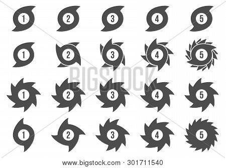 Creative Vector Illustration Of Hurricane Scale Indication Icon Symbol Set Isolated On Transparent B