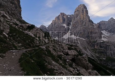 Hiking Trail In The Italian Dolomites
