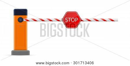 Creative Vector Illustration Of Open, Closed Parking Car Barrier Gate Set With Stop Sign Isolated On