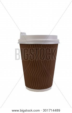 Disposable Paper Cup Of Coffee Isolated On White Background With Clipping Path.