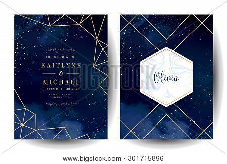 Magic Night Dark Blue Cards With Sparkling Glitter And Line Art. Diamond Shaped Vector Wedding Invit