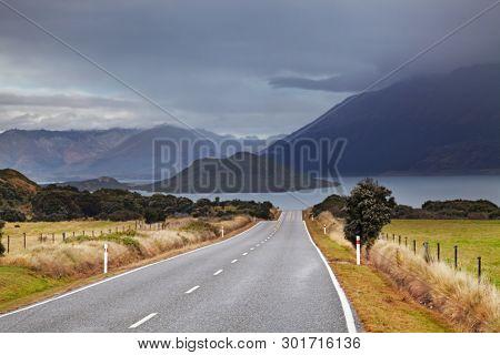 New Zealand landscape, Wakatipu Lake, South Island