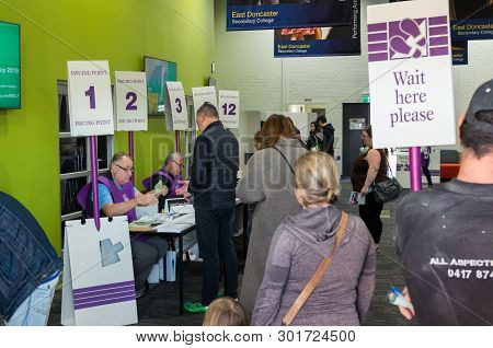Melbourne, Australia - May 18, 2019: Voters In The Electorate Of Menzies At The 2019 Federal Electio