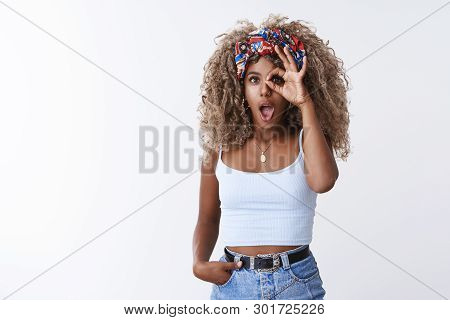 Wow Incredible Offer. Portrait Surprised Amused African American Stylish Young Girl Blond Curly Afro