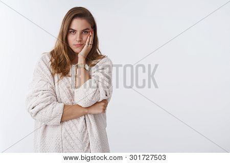 Woman Observing Annoying Situation Standing Bothered Irritated Bored, Facepalming, Leaning Head Palm