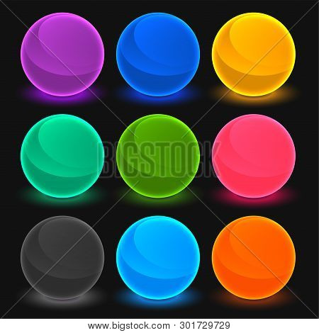 Bright Toon Shades Buttons Set Vector Illustration