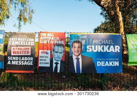 Melbourne, Australia - May 18, 2019: Liberal Party Posters At The Polling Place At Mallauna College