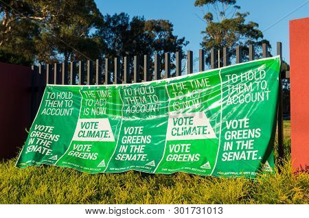 Melbourne, Australia - May 18, 2019: Australian Greens Party Banner In The Electorate Of Deakin In E