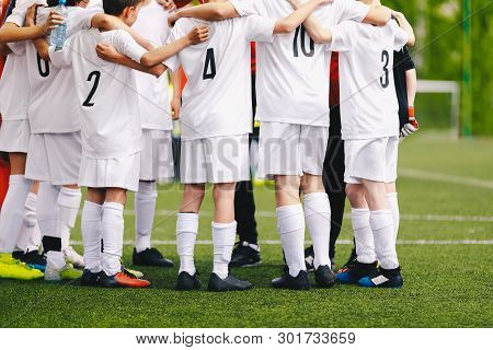 Group Of Junior Sports Player. Soccer Team Building Activities