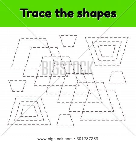 Educational tracing worksheet for kids kindergarten, preschool and school age. Trace the geometric shape. Dashed lines. Trapezoid. poster