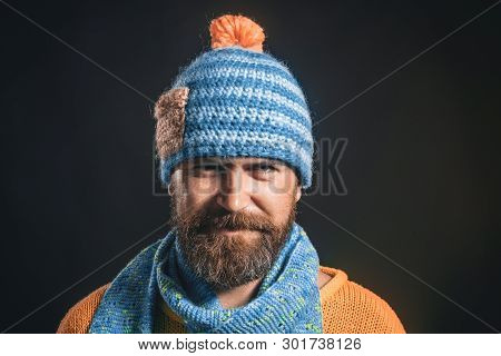 Autumn, Winter, Fashion. Bearded Man In Trendy Sweater, Scarf, Hat. Fashionable Man In Autumn/winter