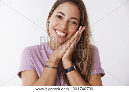 Close-up Romantic Silly Cute Joyful European Woman Leaning Face Palms Smiling Broadly Feeling Happy