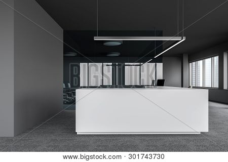 Reception Table In Gray And Glass Office