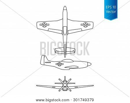 North american world war 2 fighter airplane vector poster