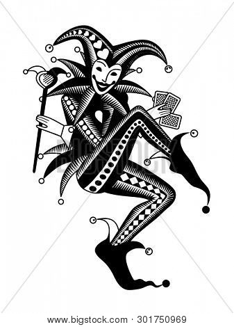 Joker playing card in retro style. Vintage engraving stylized drawing