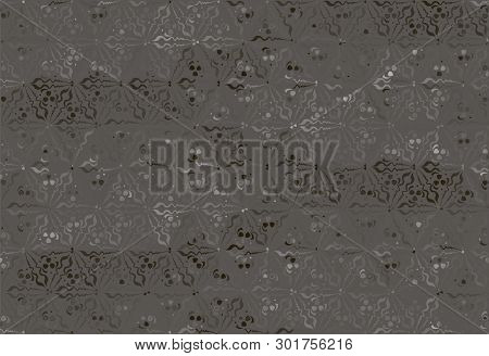 Stylized Plant Floral Ornament. Abstract Floral Textile Print For Decoration, Beige, Pink And Gray F