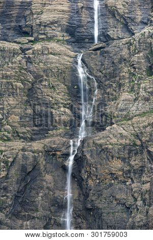 Waterfall in Gavarnie Valley, Pyrenees in France.