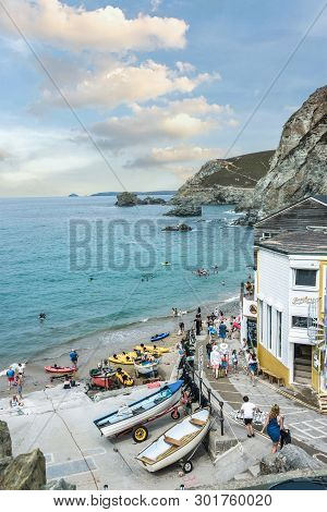 St. Agnes, Cornwall, England - July 24, 2018: A Summers Day At Trevaunance Cove, St.agnes, Cornwall,