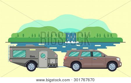 Outdoor Car Camper Travel Concept. Offroad Suv Landscape. Summer Auto Adventure Trip Backgrounds. Fl