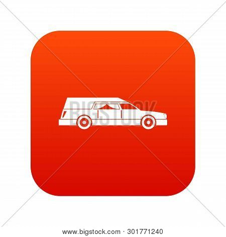 Hearse Icon Digital Red For Any Design Isolated On White Illustration