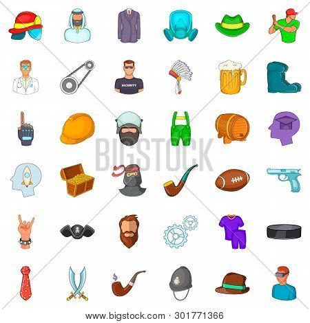 Personnel Icons Set. Cartoon Set Of 36 Personnel Icons For Web Isolated On White Background