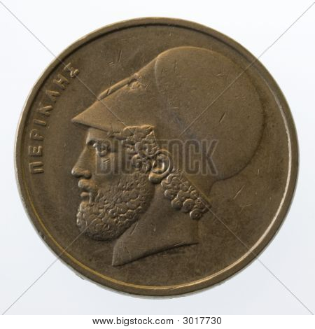 Pericles, Ancient Greek Leader And Statesman, On 20 Drachmas Coin