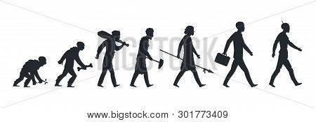 Human Evolution Silhouette. Monkey Ape And Caveman To Businessman Growing Concept. Vector Mankind De