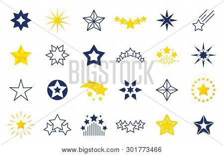 Star Icons. Premium Black And Outline Symbols Of Star Shapes, Four Five Six-pointed Star Labels On W