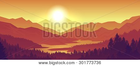 poster of Mountain sunset landscape. Realistic pine forest and mountain silhouettes, evening wood panorama. Vector illustration wild nature background