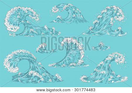 Hand Drawn Ocean Wave. Vintage Cartoon Sea Storm Waves, Tide Water Splash Isolated Elements. Vector