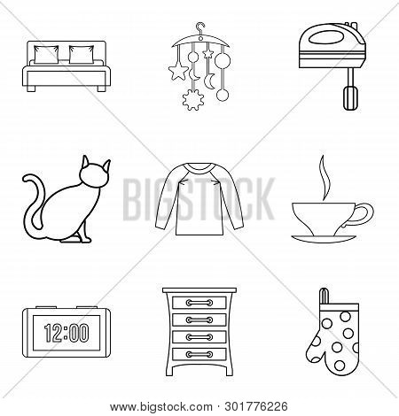 Abode Icons Set. Outline Set Of 9 Abode Icons For Web Isolated On White Background