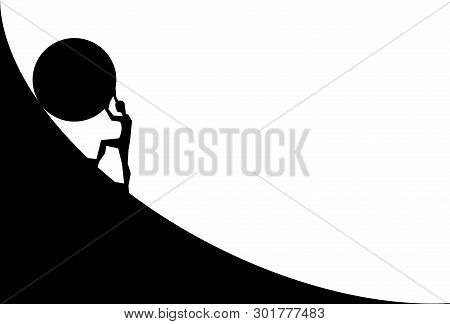 Man Pushing Big Boulder Uphill. Vector Cartoon Silhouette In Flat Design Isolated On White Backgroun