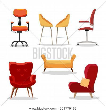 Set Of Chairs. Comfortable Furniture Armchair And Modern Seat Design In Interior Illustration. Busin