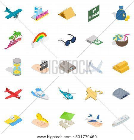 Aeronautic Icons Set. Isometric Set Of 25 Aeronautic Icons For Web Isolated On White Background