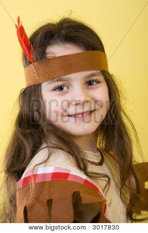Little Girl As An Indian.