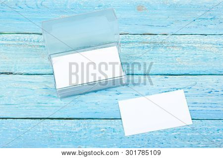 Business Card. Corporate Stationery Set Mockup. Blank Textured Brand Id Elements On Wooden Table. To