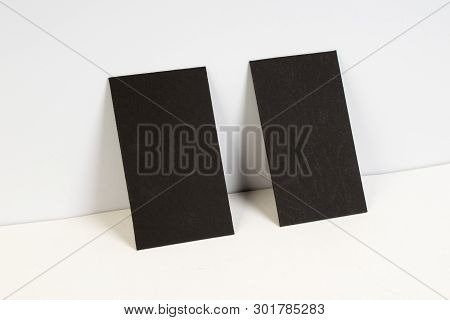 Blank Black Business Cards On The White Background. Template For Id.