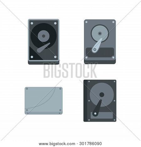 Hard Disk Icon Set. Flat Set Of Hard Disk Icons For Web Design Isolated On White Background