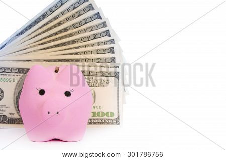 Pink Piggy Bank, Dollars On A White Background.