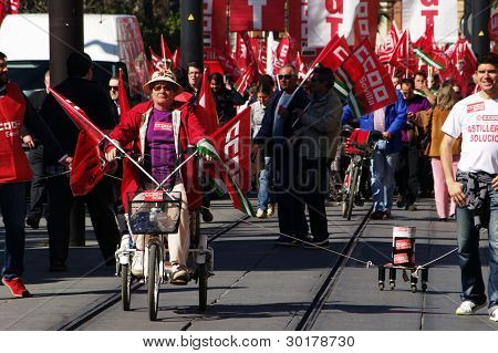 Old lady on a tricycle