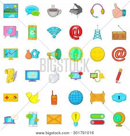 Bearer Media Icons Set. Cartoon Set Of 36 Bearer Media Icons For Web Isolated On White Background