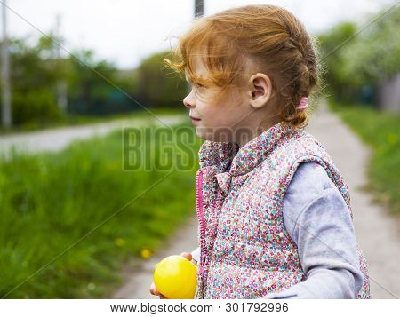 little redhead girl with pigtails looks away close-up poster