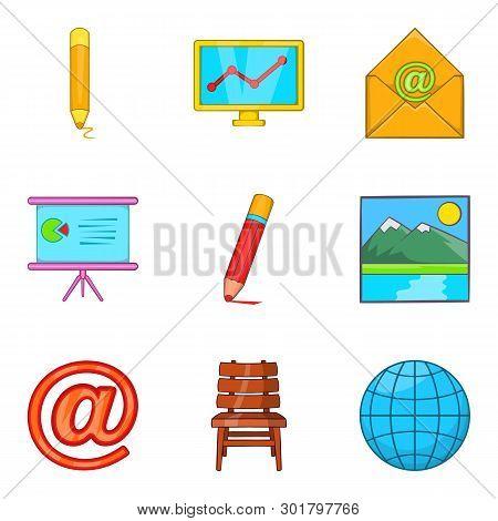 Correspondence icons set. Cartoon set of 9 correspondence icons for web isolated on white background poster