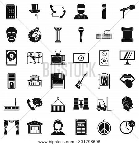 Widget Icons Set. Simple Set Of 36 Widget Icons For Web Isolated On White Background