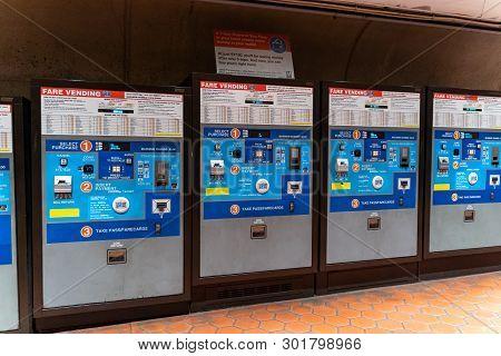 Washington, Dc - May 9, 2019: Fare Vending Machines Inside Of A Washington Dc Metro Station Allow Cu