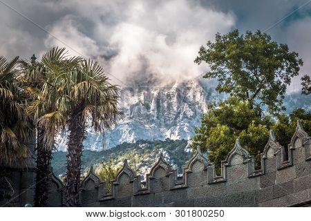 Crimea - May 20, 2016: Vorontsov Palace Overlooking Mountain Ai-petri In Crimea, Russia. This Place