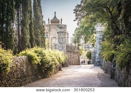 Crimea - May 20, 2016: Alley And Entrance To Vorontsov Palace In Crimea, Russia. It Is One Of Main L