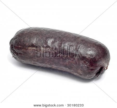a morcillas, typical Spanish sausage, on a white background